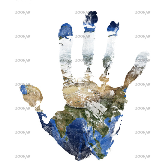 Real hand print combined with a map of Asia of our blue planet Earth. Elements of this image furnish