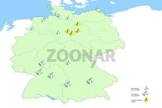 Standorte Atomkraftwerke in Deutschland im Jahr 2011, Quelle: Bundesumweltamt 2011, standortgenaue Darstellung der Energieerzeugung in Deutschland im Jahr 2011 entsprechend der Legendendarstellung