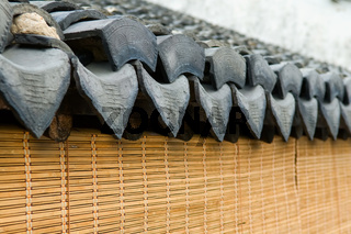 The close up view of roof tile of Chinese architecture