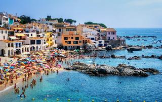 Sand beach in Calella de Palafrugell, a popular resort town on Costa Brava, Catalonia, Spain