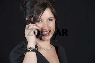Portrait einer Frau mit Handy, woman with mobile phone