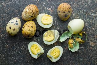 Boiled guail eggs.