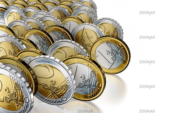 Rolling money coins, 3d illustration
