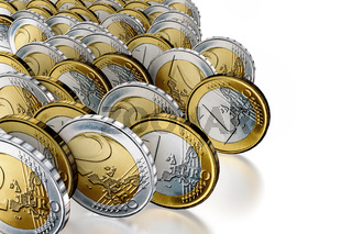 Rolling money coins, 3d illustration