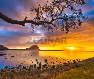 Amazing Landscape. View of Le Morne Brabant at sunset. Mauritius.