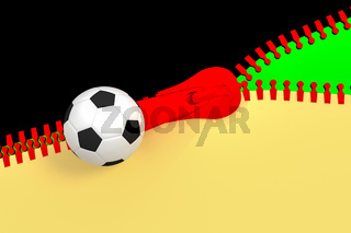 Zipper with soccer ball and german national colors, 3d illustration