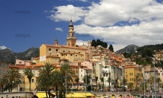 Old town of Menton with the St. Michel church