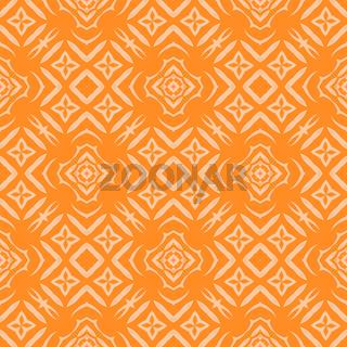 Orange Ornamental Seamless Line Pattern