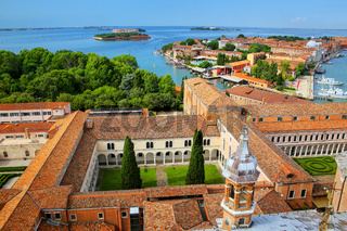 View of the courtyards of San Giorgio Monastery and Giudecca island in Venice, Italy.