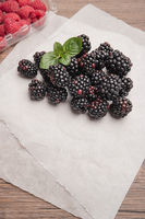 Fresh organic blackberries and raspberries