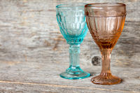 Two empty crystal wineglasses