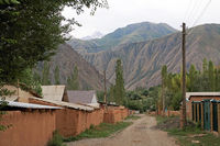 Village Street with loam houses in Kyzyl Oi, Kökomeren Valley, Cental Kyrgyzstan