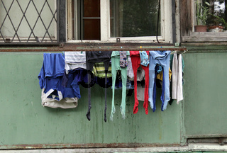 Children#39;s underwear drying in the open air.