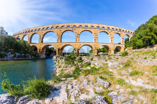 The aqueduct Pont du Gard  was built in Roman times