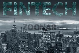 Smart city concept with fintech financial technology concept