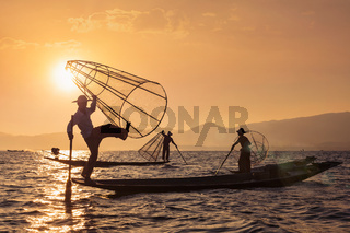 Traditional Burmese fisherman at Inle lake, Myanmar