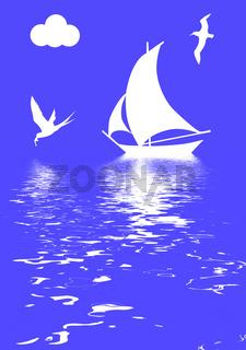 vector illustration sailboat in ocean