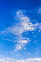 Blue sky background with white clouds and airplane