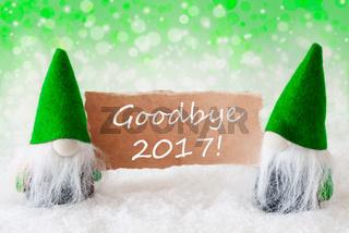 Green Natural Gnomes With Card, Text Goodbye 2017