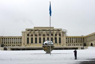Völkerbundpalast, Europa-Sitz der Vereinte Nationen, im Winter, Genf, Schweiz