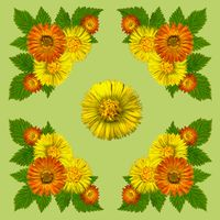 YellowBlossomsNapkinGreen1