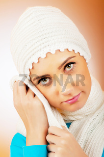 Nice looking woman in the warm clothing