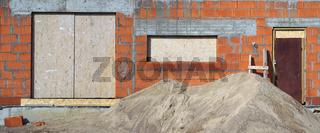 red bricks  building on sand