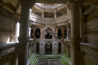 Inner view of Adalaj Ni Vav (Stepwell), or Rudabai Stepwell. Built in 1498  is intricately carved and is five stories deep. Ahmedabad, Gujarat, India