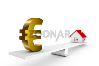3d illustration balance of house and currency