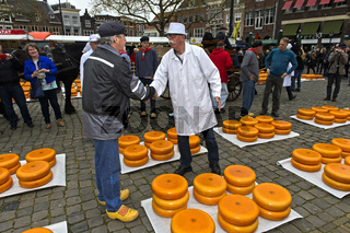 Bauer und Händler feilschen um den Preis für Gouda Käse, Käsemarkt, Gouda, Niederlande