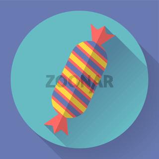 Sweet xmas candy icon. Flat designed style.