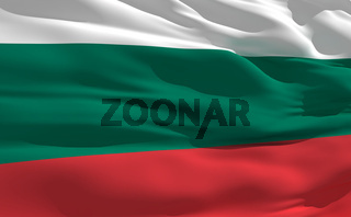 Fluttering flag of Bulgaria on the wind
