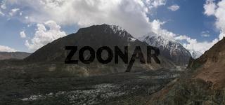 View to Bwaltar peak and Barpu glacier, Karakorum mountains Pakistan