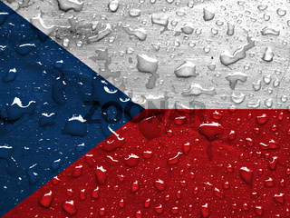 flag of Czech Republic with rain drops