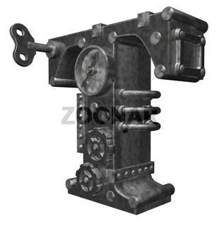 steampunk buchstabe t - 3d illustration