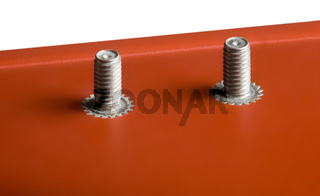 Back panel, red anodized, bolts