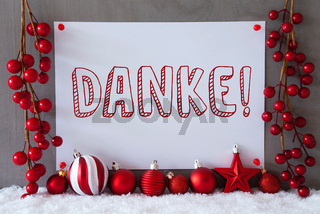 Label, Snow, Christmas Balls, Danke Means Thank You