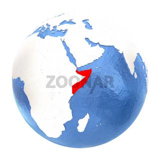 Somalia on globe isolated on white