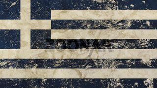 Old grunge vintage faded flag of Greece