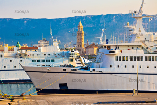 City of Split boats and landmarks view