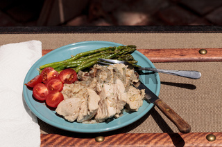 Sauteed pork and asparagus with mushroom risotto