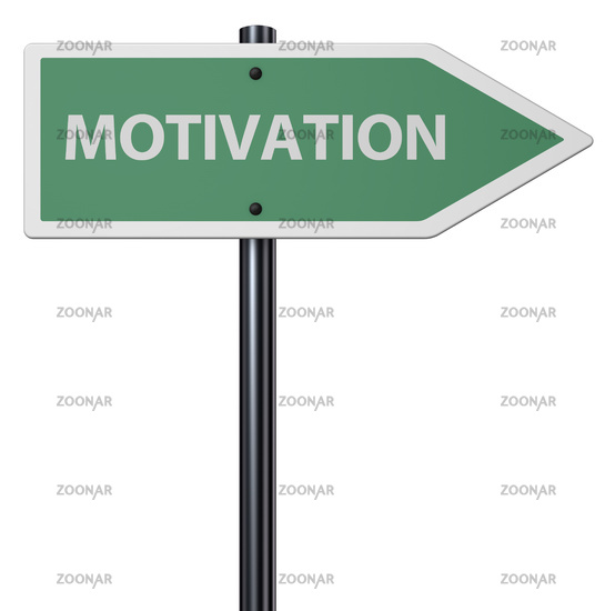 the word motivation on sign in front of white background - 3d rendering
