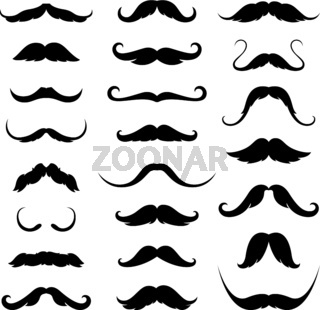 Mustaches icons set. Vector illustration