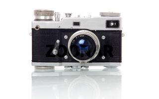 Retro-styled photo camera isolated on white