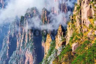 Colorful peaks of Huangshan National park.