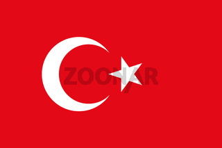 Fahne der Türkei - Colored flag of Turkey