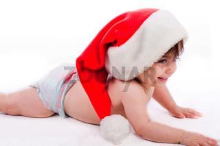 Santa baby trying to crawl