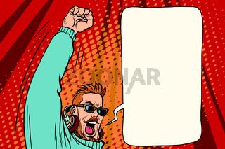 Hipster DJ emotional hands up