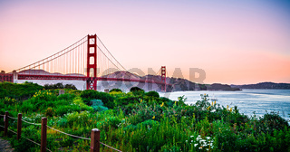 golden gate bridge san francisco california at sunset