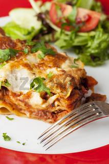 Teil des klassischen italienischen Lasagne auf dem Teller